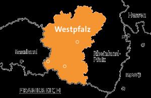 Verortung der Westpfalz in Deutschland