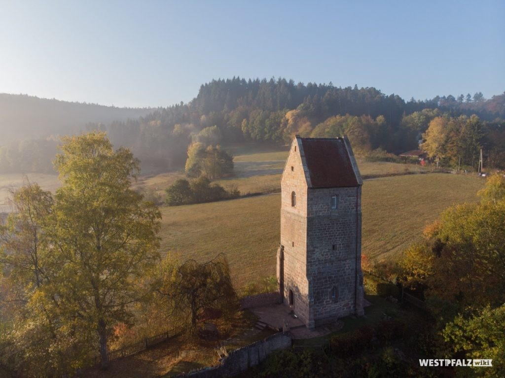 Luftaufnahme des Turmes am Aschbacherhof.
