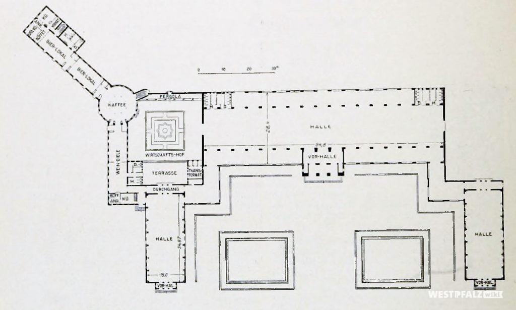 Grundriss der ehemaligen Ausstellungshallen