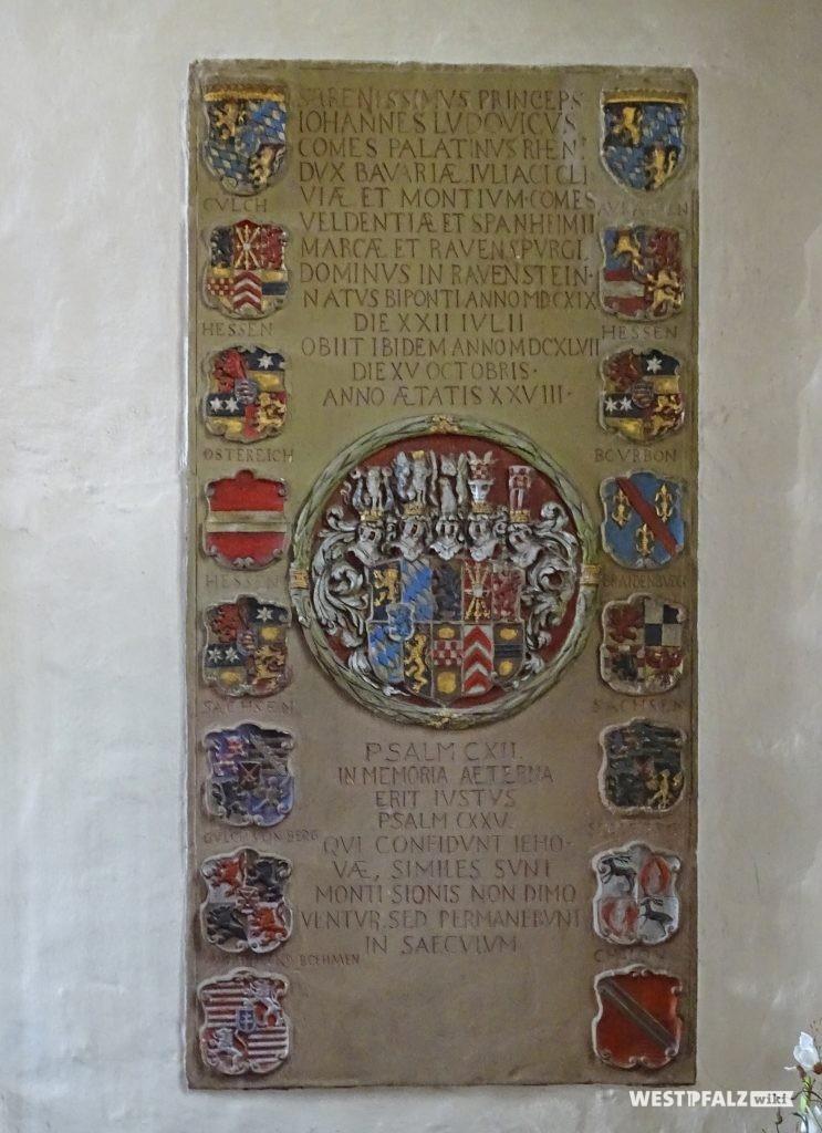 Epitaphie für den Pfalzgraf Johann Ludwig († 1647)