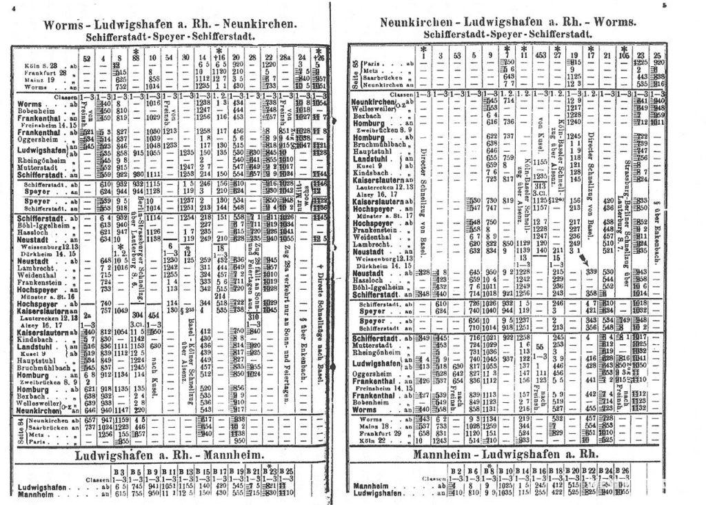 Fahrplan auf der Strecke der Pfälzer Ludwigsbahn aus dem Jahr 1884.