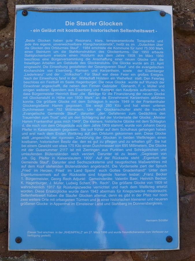 Informationstafel über die Staufer Glocken