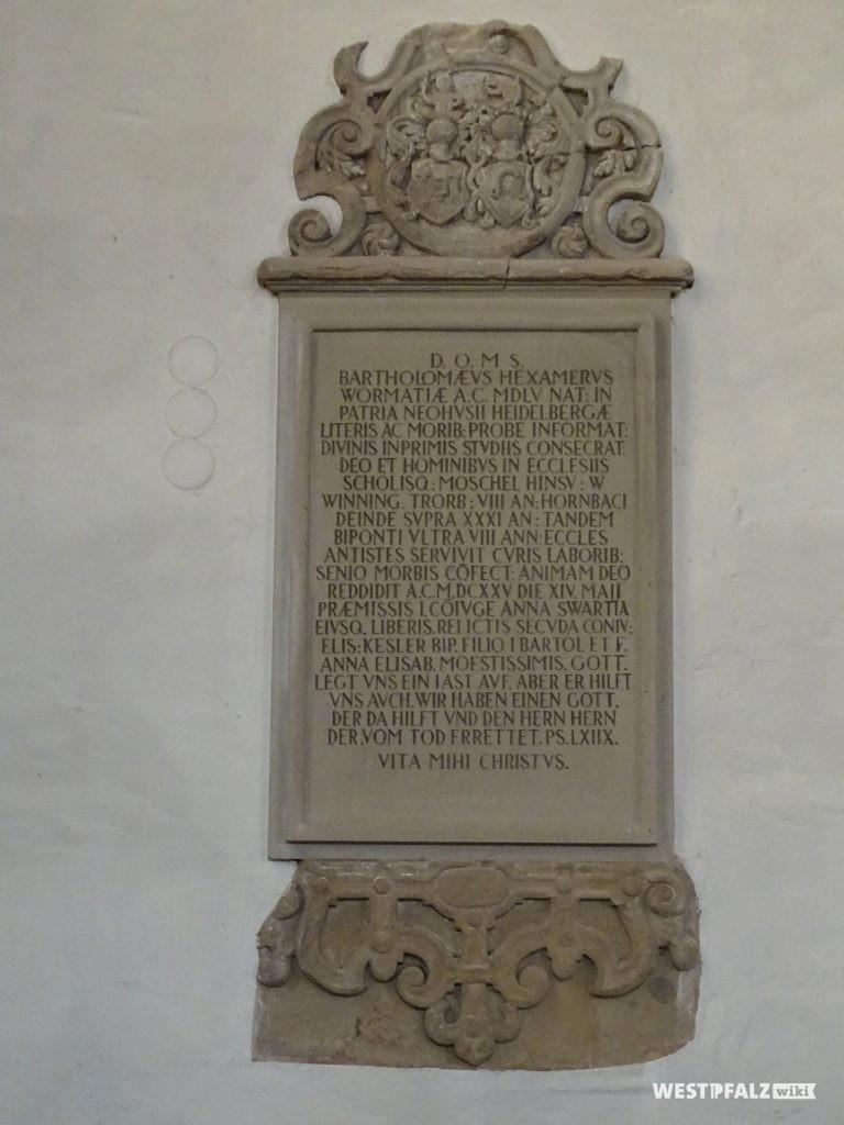 Grab- und Gedenktafel in der Alexanderskrírche Zweibrücken