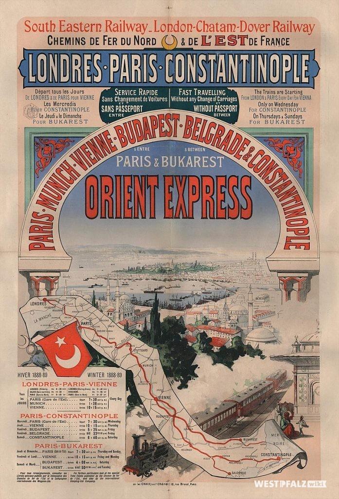 Historisches Werbeplakat des Orient-Express aus dem Jahr 1888.