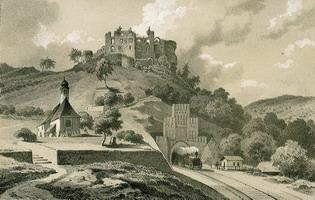 Tonlithographie der Burg Frankenstein von Hohe um 1850 .