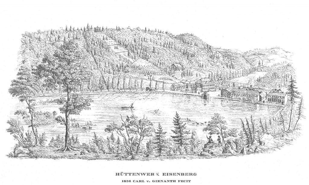 Das Eisenhüttenwerk Eisenberg 1836 vom Westen aus gesehen. Im Hintergrund auf dem Berg die Orangerie mit Park, im Vordergrund der Hammerweiher