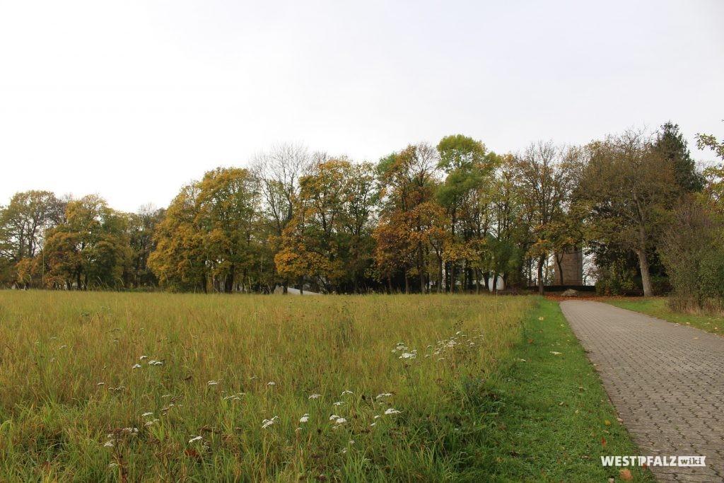 Parkanlage Schillerhain, Blick von Osten auf den hinter Bäumen gelegenen Wartturm im Schillerhain (2017)