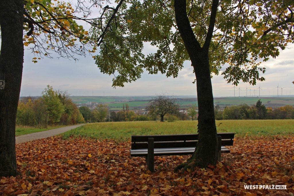Parkanlage Schillerhain, Blick vom Standort des Wartturms in die Ferne und in Richtung Kirchheimbolanden im Herbst (2017).