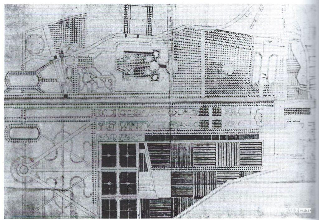 Federzeichnung des Schlossgartens von Johann Ludwig Petri von 1762/63