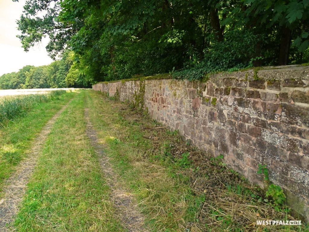 Diese Mauer begrenzt den Wildrosengarten in Zweibrücken im Norden.