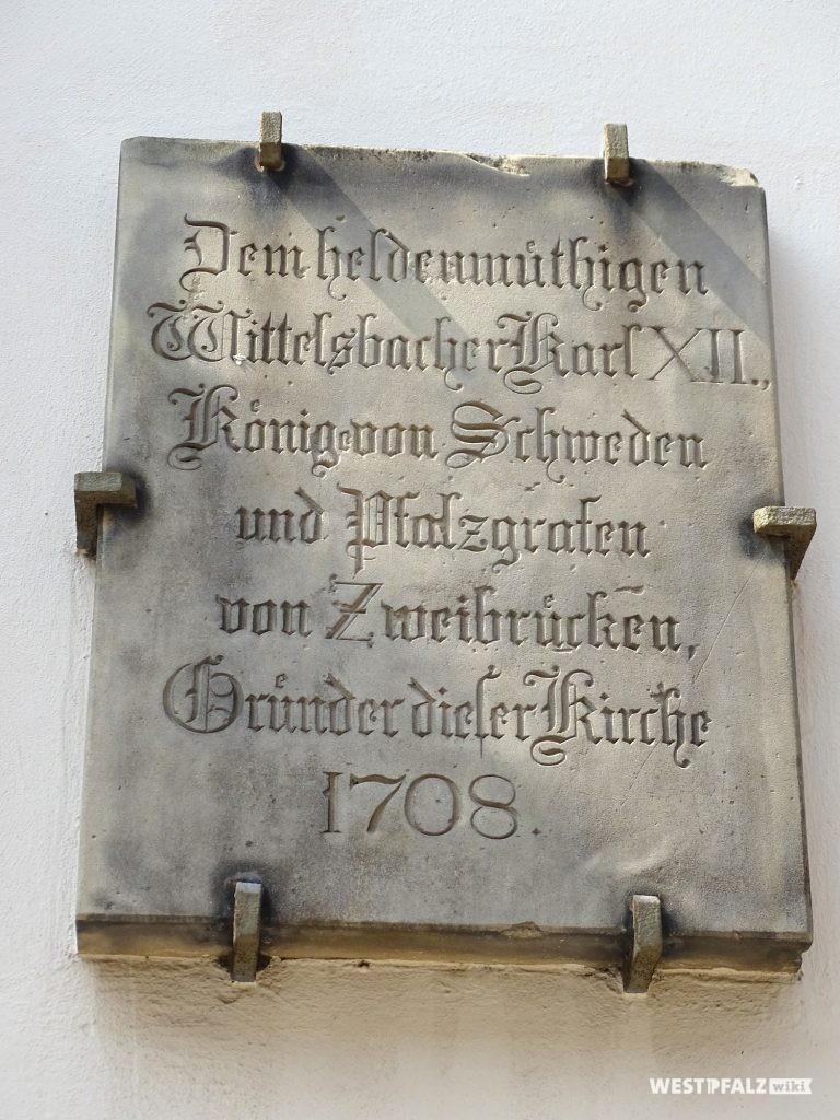 Gedenktafel des Gründers der Kirche Karl XII.