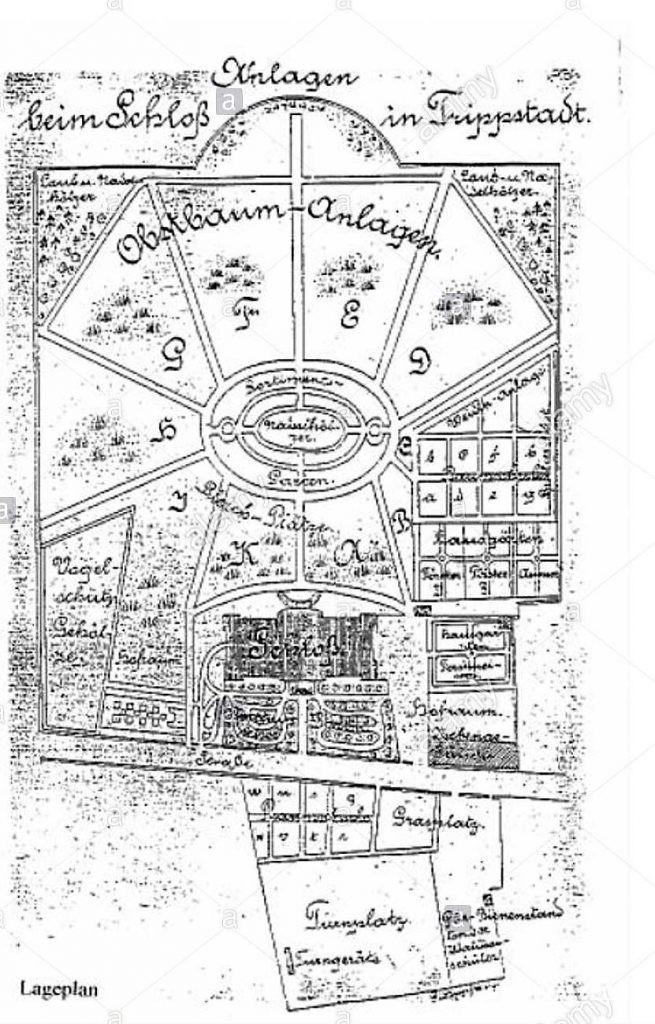 Lageplan des früheren Schlossgartens in Trippstadt