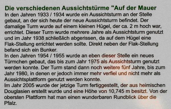 """Schautafel zu den verschiedenen Aussichtstürmen """"Auf der Mauer"""""""