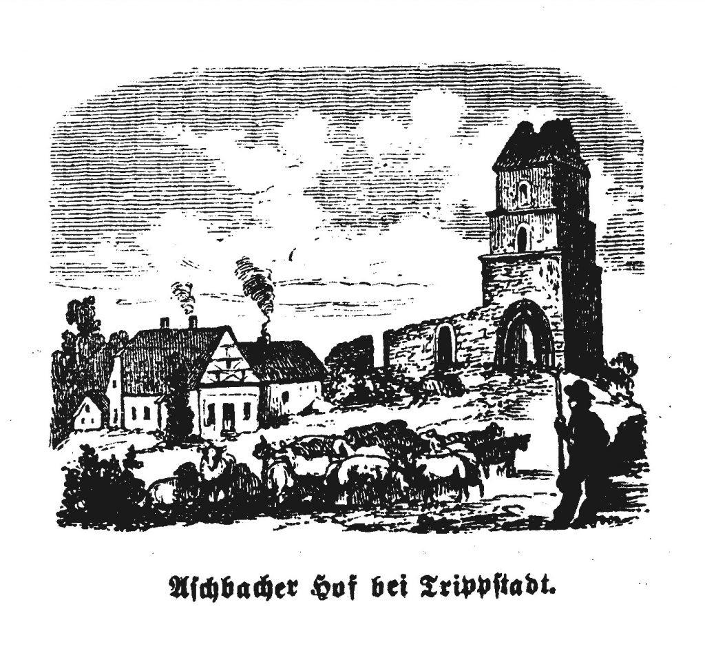 Zeichnung des Turmes am Aschbacherhof. Im Vordergrund ein Schäfer und seine Schafe.