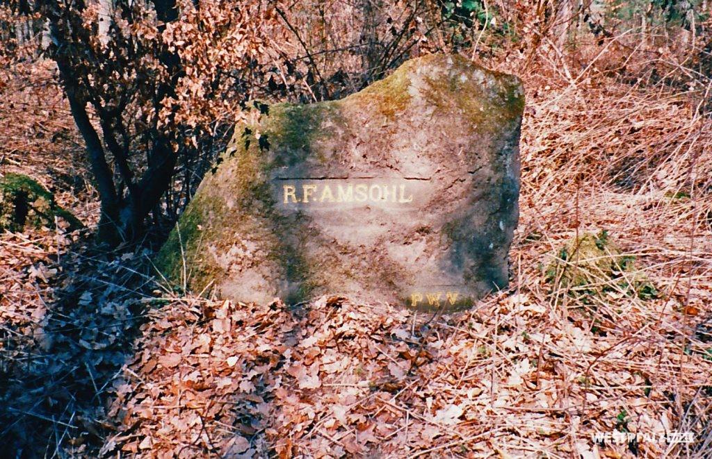 """Ritterstein Nr. 114 bei Waldleiningen mit der Inschrift """"R. F. Amsohl"""" und """"PWV"""" (1996)."""