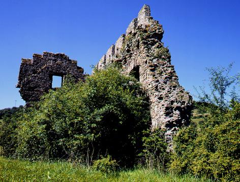 Ritterhaus der Unterburg der Burgruine Lewenstein in Niedermoschel