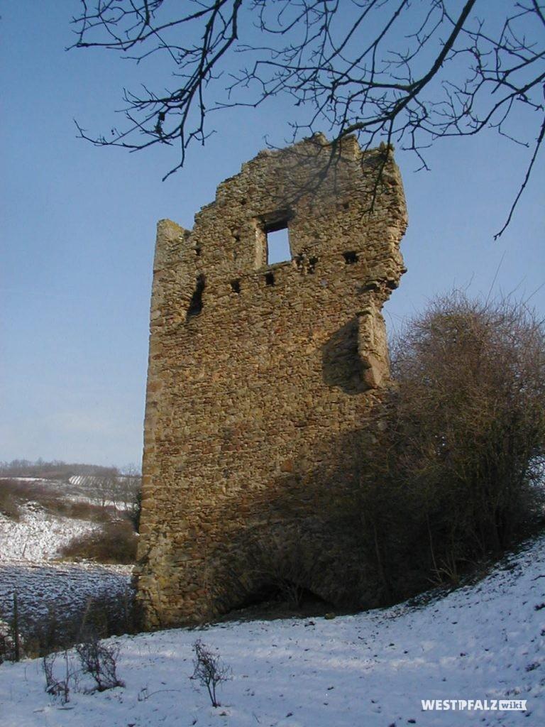 Giebelseite des Ritterhauses der Burgruine Lewenstein in Niedermoschel