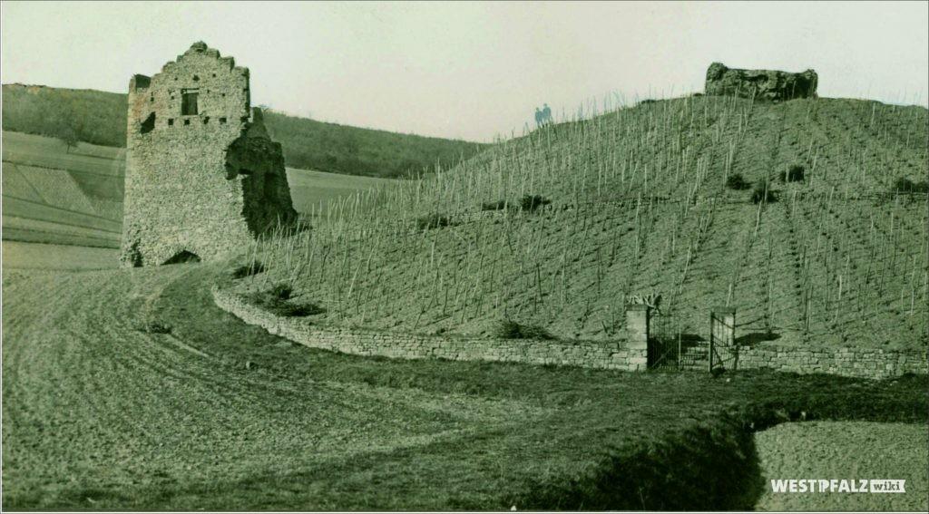 Burgruine Lewenstein mit Weinbergen vor 1935