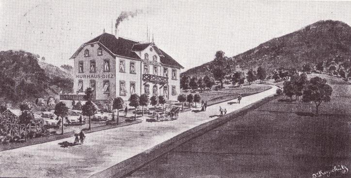 Gemälde des Kurhaus Dietz in Ramsen Anfang des 20. Jahrhunderts.