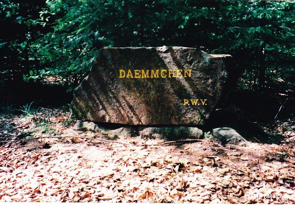 """Ritterstein mit der Inschrift """"Dämmchen"""" bei Waldleinigen."""