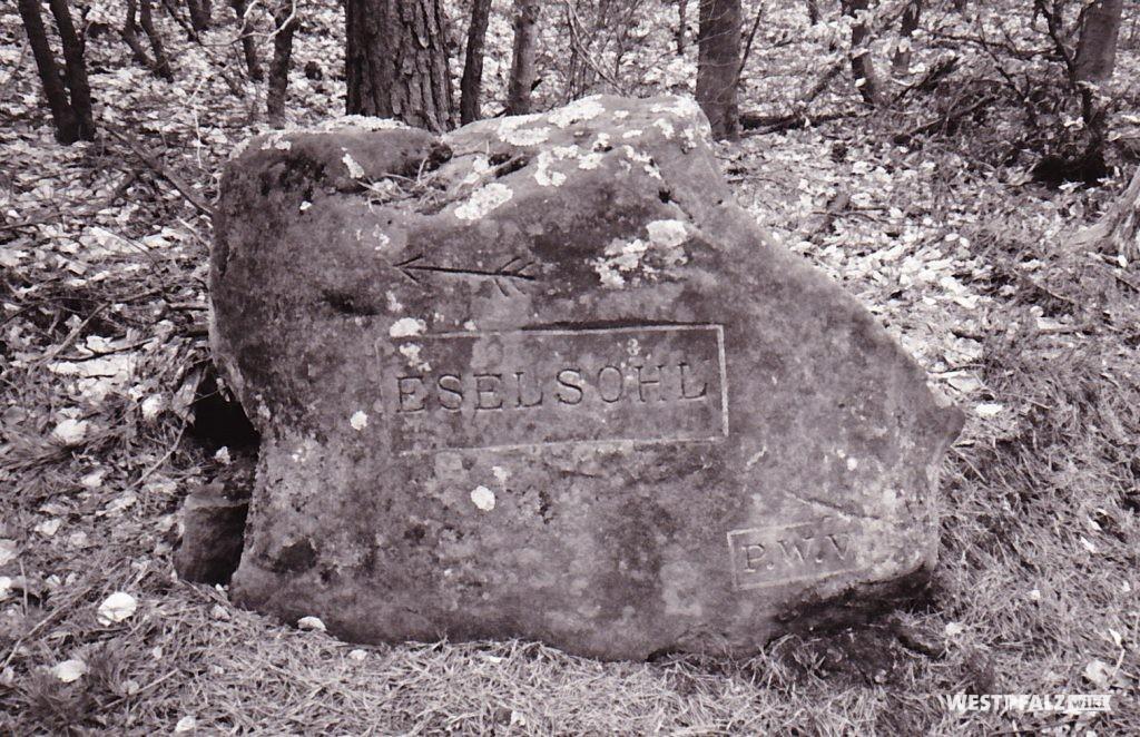 """Ritterstein mit der Inschrift """"Eselsohl"""" bei Waldleiningen"""