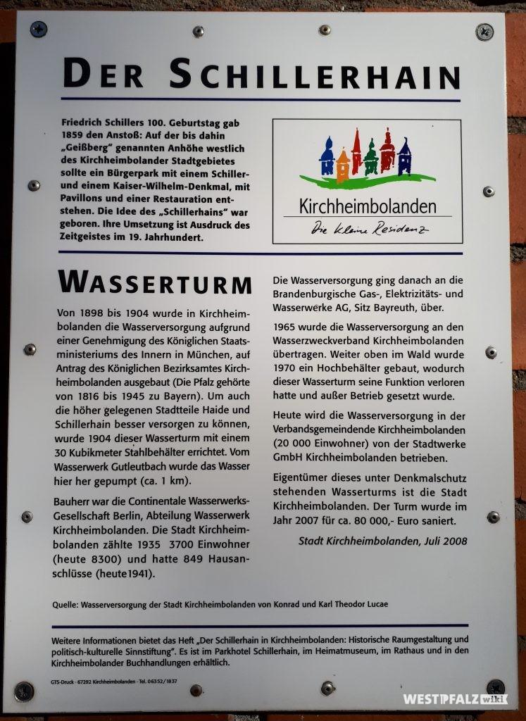 Infotafel am Wasserturm in Kirchheimbolanden