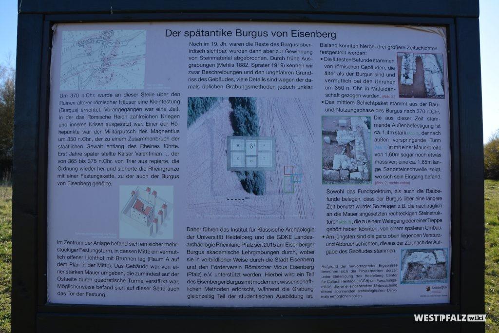 """Informationstafel über den ehemaligen """"Burgus"""" in Eisenberg"""