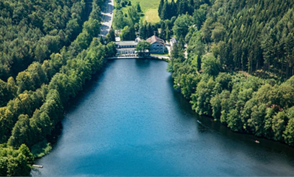 Luftaufnahme des Gelterswoogs. Blick auf das Seehotel