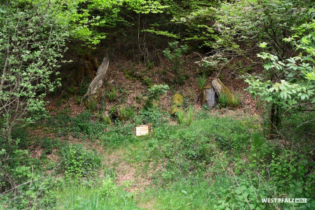 Naturdenkmal Hungerbrunnen mit Gedenkstein und daran angebrachter Tafel. Das Wasser fließt in manchen Jahren aus dem dahinter liegenden Hang