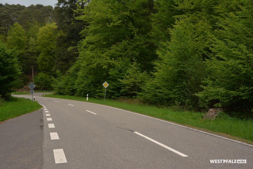 L504 aus Richtung Waldleiningen. Der Ritterstein befindet sich hier am rechten Straßenrand