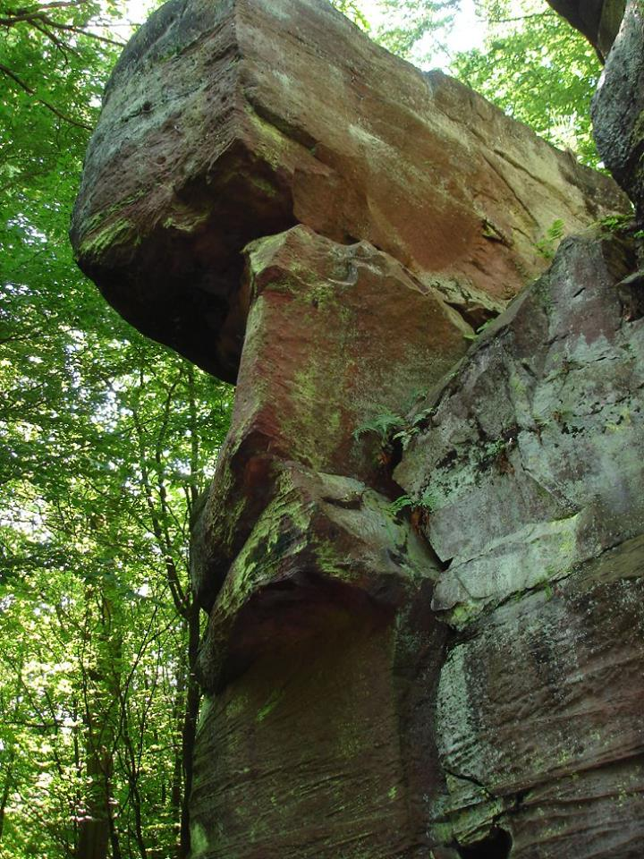 Meterhohe Sandsteinformation im Fleischackerloch bei Landstuhl