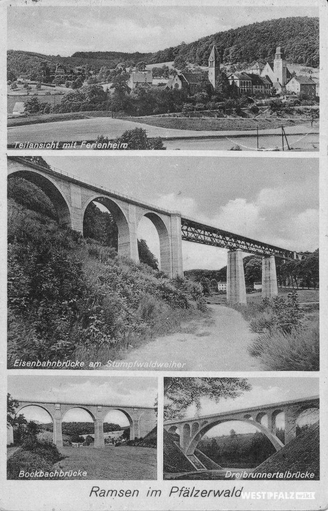 Postkarte von Ramsen aus dem Jahr 1937. Zu sehen sind: Ortsansicht von Ramsen (oben), Eistalviadukt (mitte), Bockbachtalbrücke (links) und Dreibrunnertalbrücke (rechts)