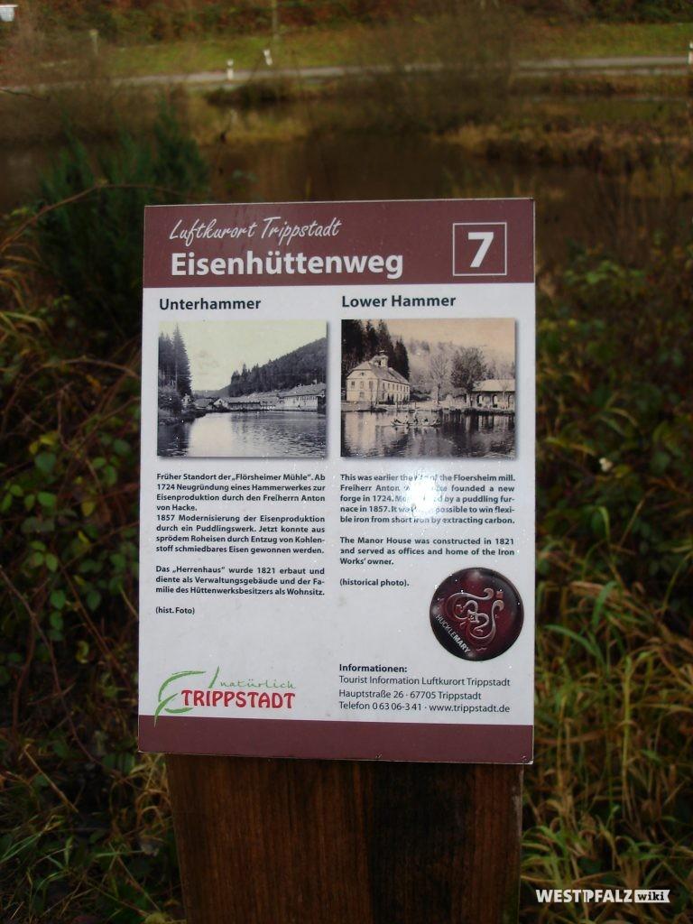 Informationsschild Eisenhüttenweg Nr. 7 Unterhammer