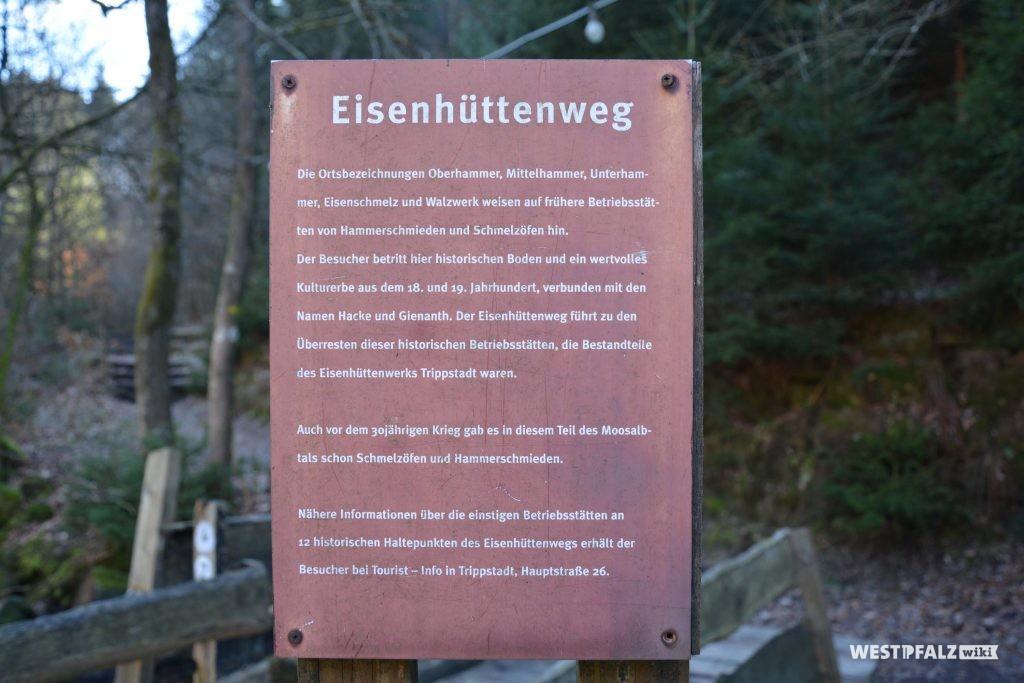 Infotafel zum Eisenhüttenweg an der Klugschen Mühle