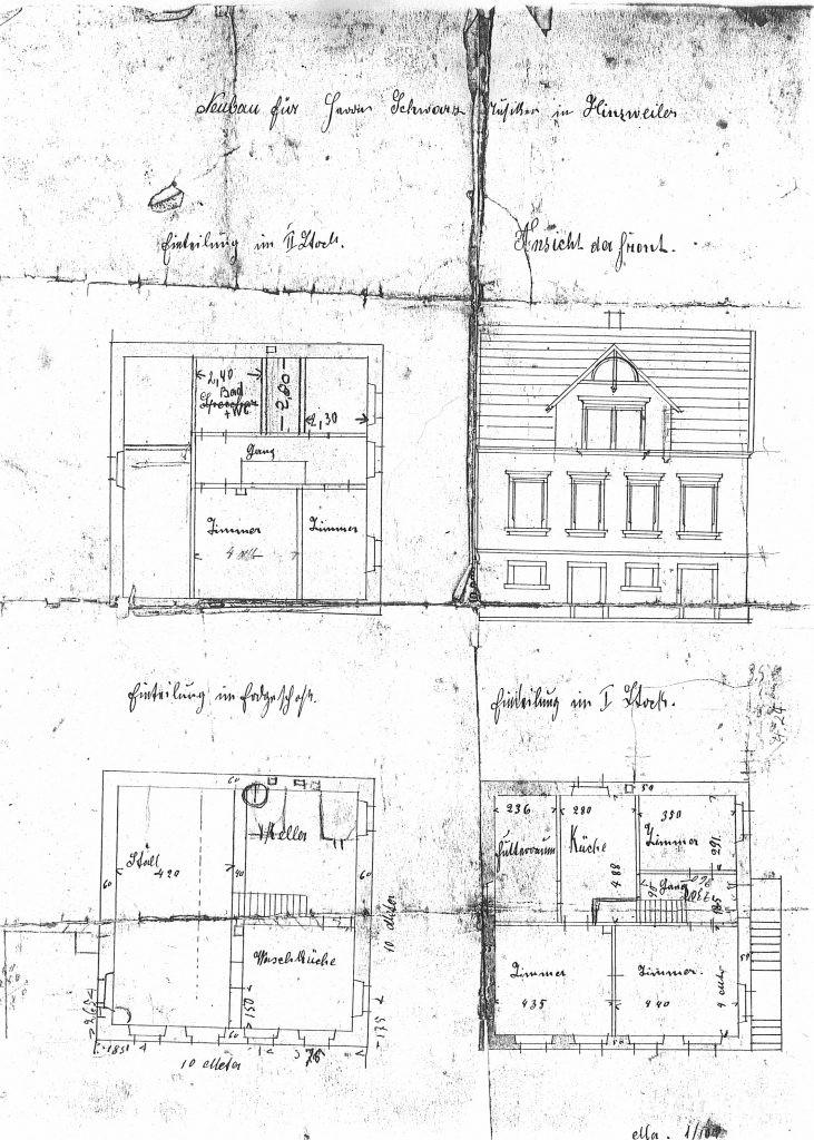 Bauplan des Neubaus Musikantenhauses des Kapellmeisters Otto Schwarz
