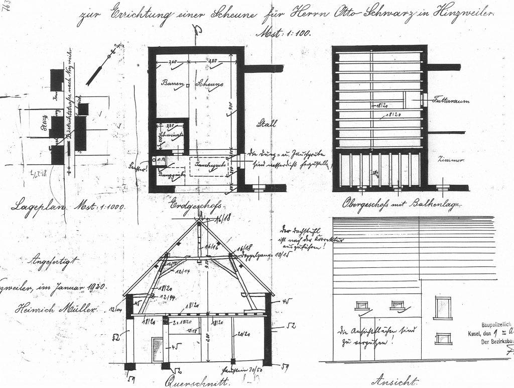 Bauplan der Scheune
