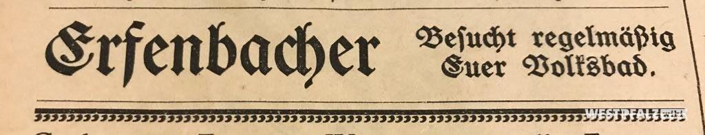 """Zeitungsauschnitt zum Volksbad aus dem """"Erfenbacher Anzeiger"""" von 1928"""