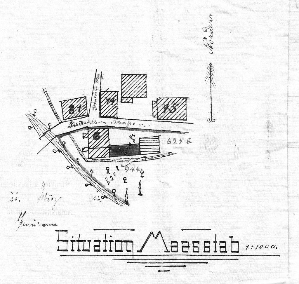 Lageplan der alten Mühle aus dem Jahr 1912