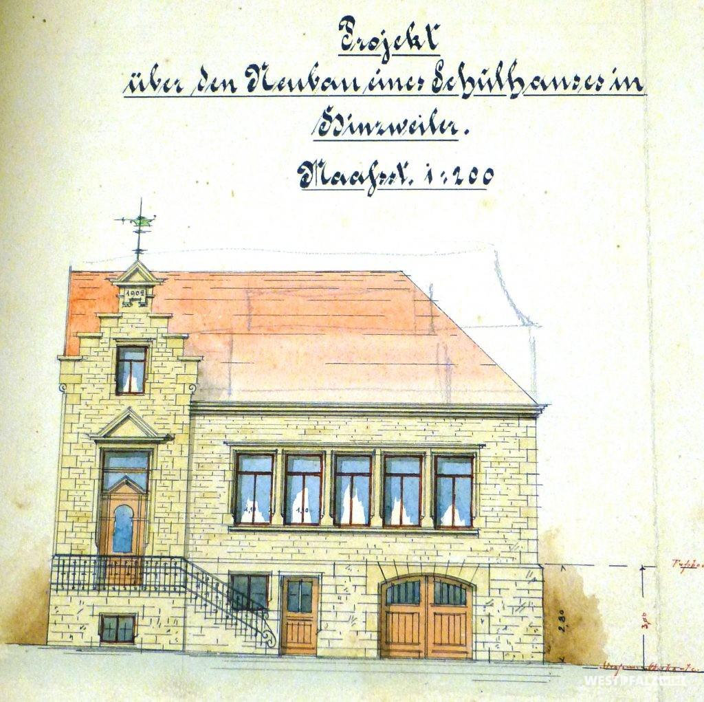 Bauplan des neuen Schulhauses von 1902
