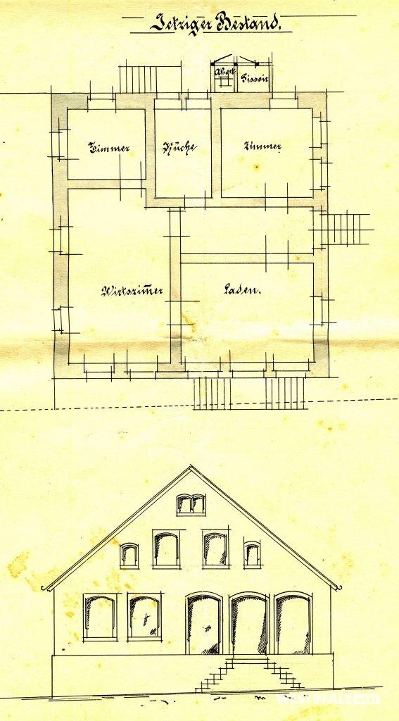 Plan des Gasthauses Cappel in Hinzweiler vor dem Umbau 1908