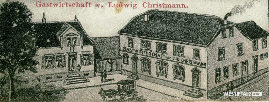 Zeichnung des Gasthauses Christmann in Hinzweiler aus dem Jahr 1912