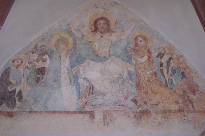 Fresco in der protestantischen Kirche in Hinzweiler