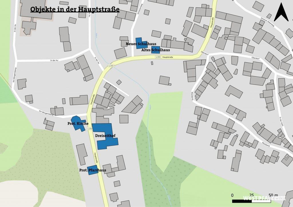 Lage der Objekte in der Hauptstraße in Hinzweiler