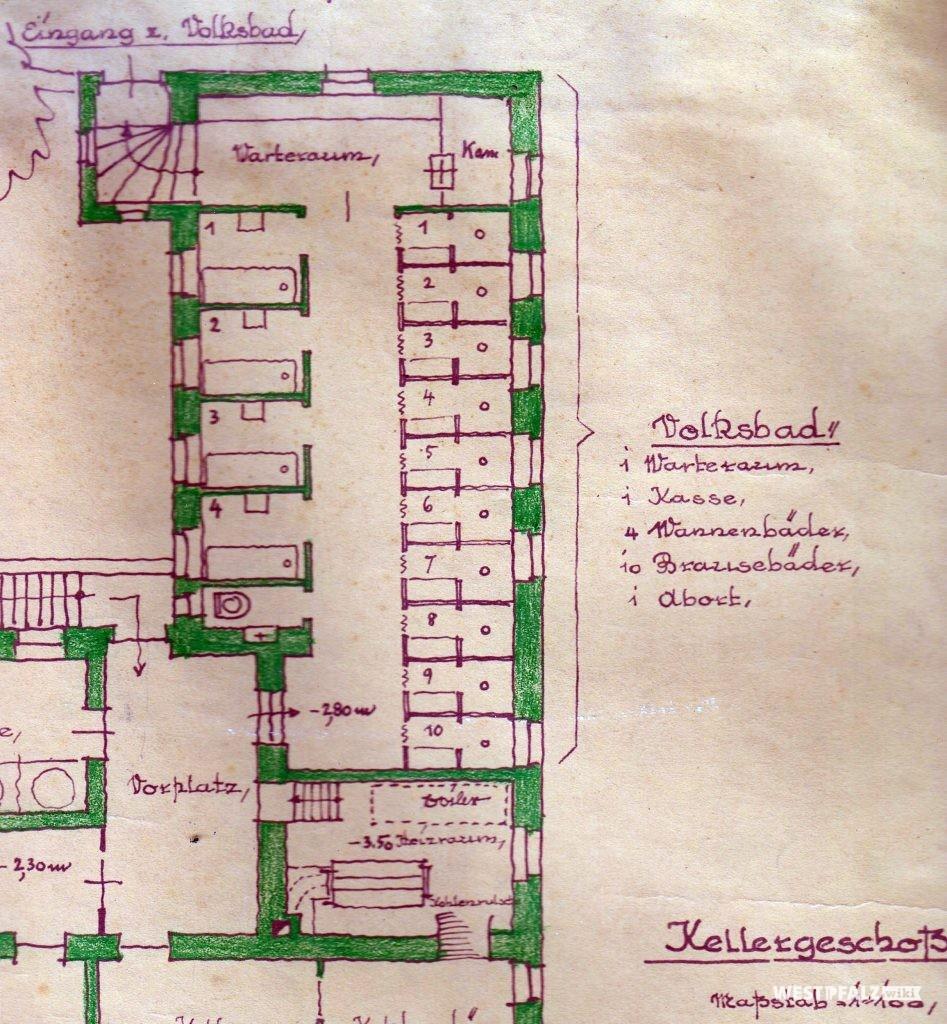 Planzeichnung des Kellergeschosses des Volksbads