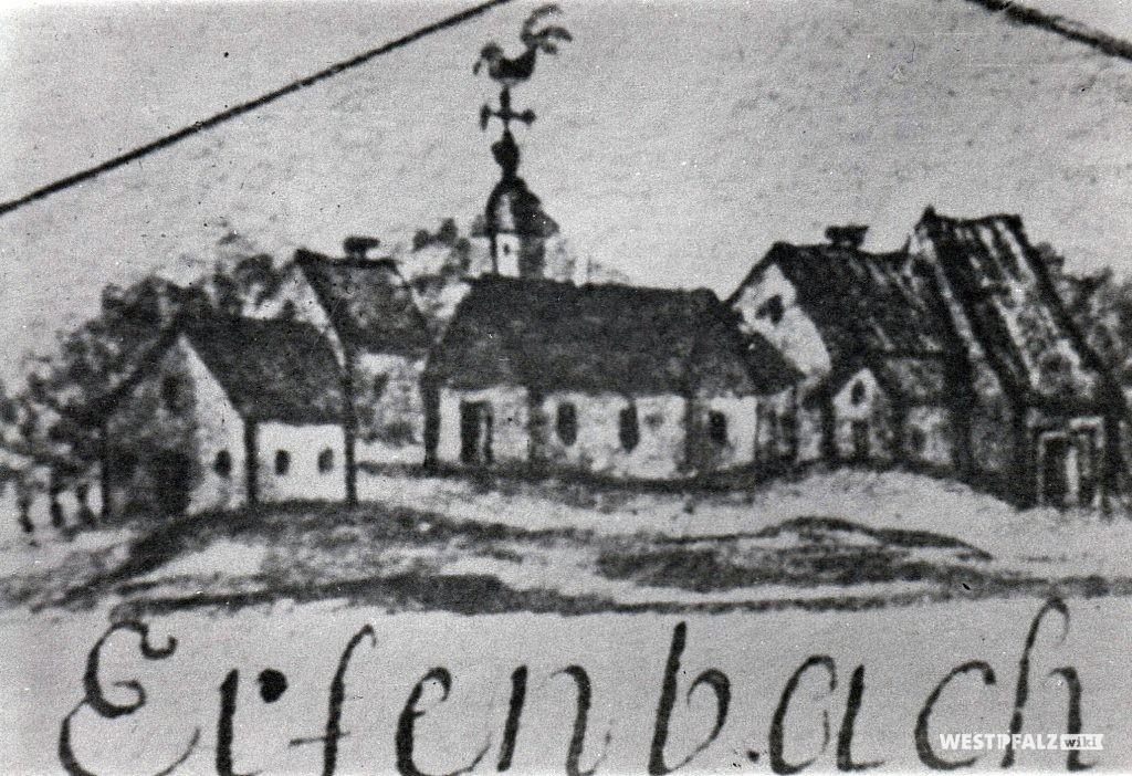 Dorfbild von Erfenbach mit Kirche
