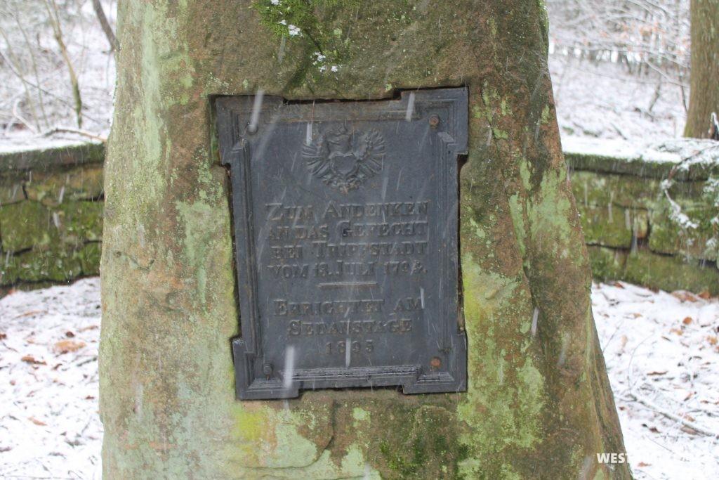 Eisentafel der Denkmalanlage am Bartelsberg