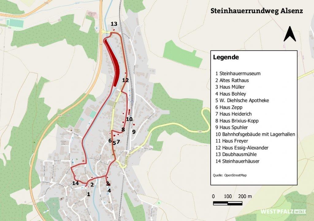 Übersichtskarte zum Steinhauerrundweg in Alsenz