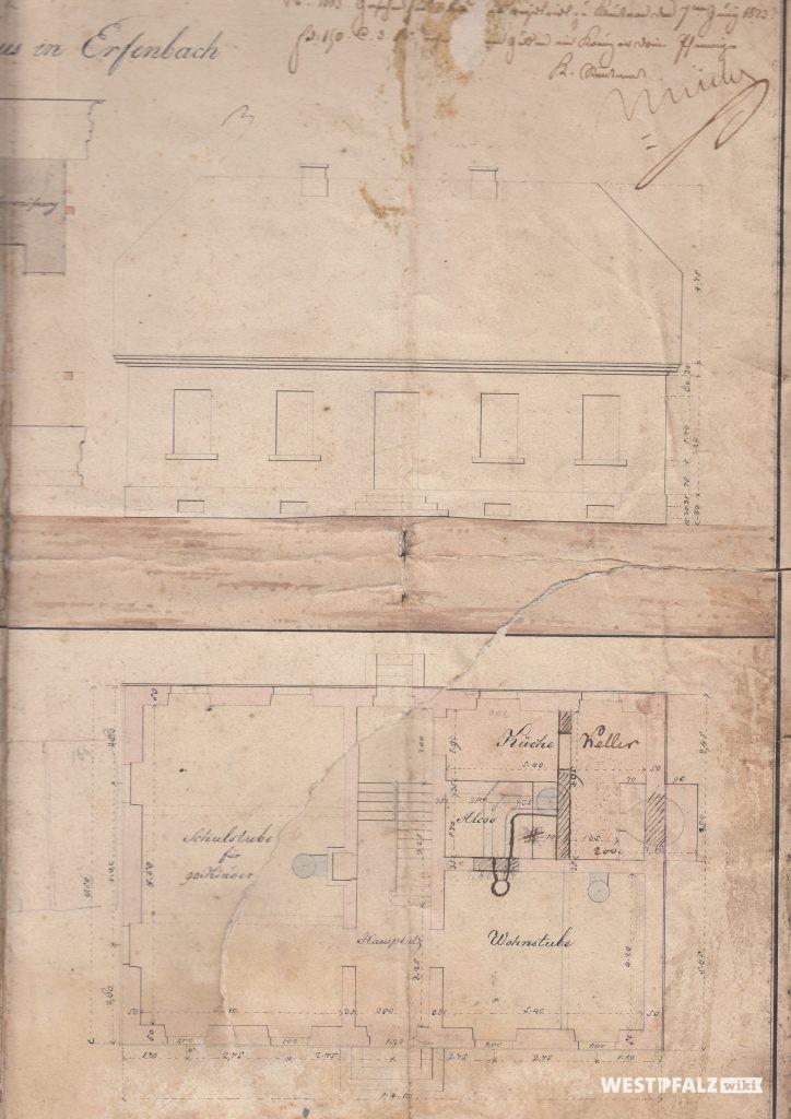 Volksschule - Plan des ersten Schulgebäudes