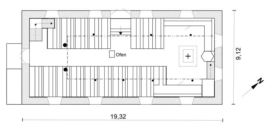 Protestantische Kirche vor dem Umbau  - Grundriss nach Originalplänen gezeichnet
