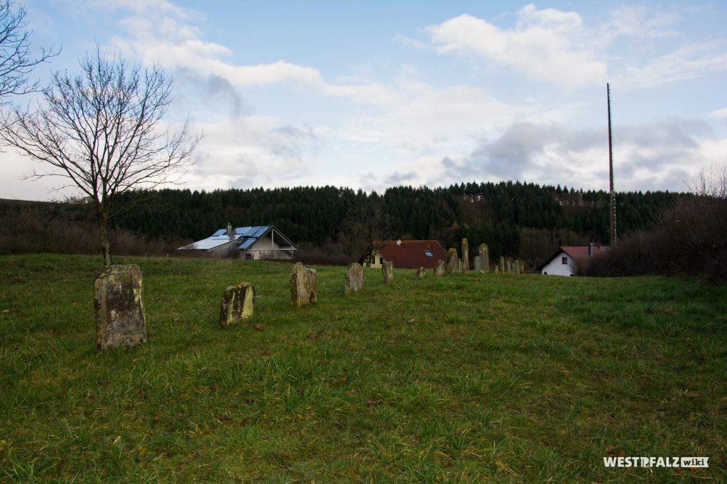 Blick über den jüdischen Friedhof in Hinzweiler in Richtung Nordwesten
